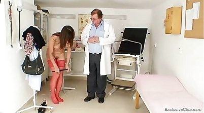 Doctor checks those insatiable brunettes hot pussy