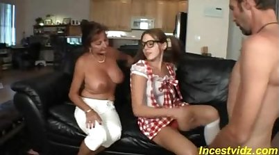 Taboo Live Family Threesome Boy and Mom