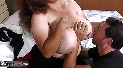 Chubby Brunette Tries Huge Dick in Trio