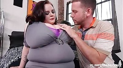 Busty BBW Teen Peyton Thomas takes on 2 Big Cocks