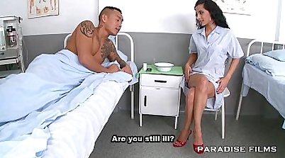 Fetish lady nurse Lucia Fishnets hot PMCA vibe