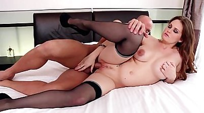 Busty babe in a black stockings fuck