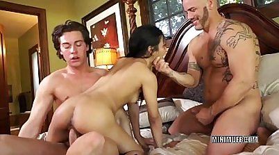 Amazing anal threesome with asian