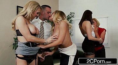 Gang bang pleasing her changing place to the office