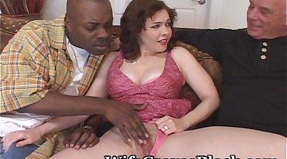 Black dude fucks white girl creamy pussy