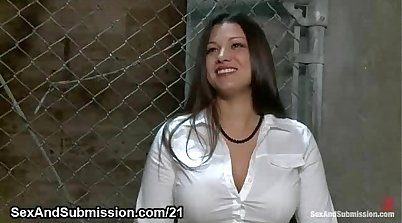 Busty babe while being filmed in BDSM porn