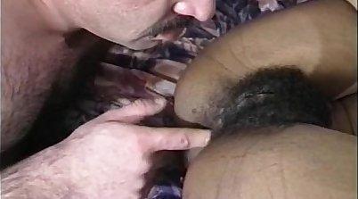 Arab dine with hairy ebony chick