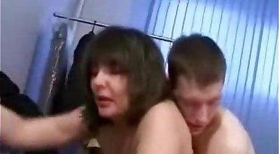 Mature mom fucks horny son